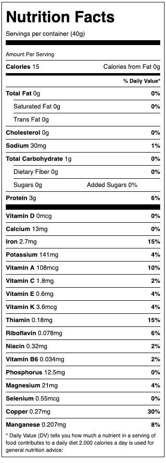 Alive Spirulina Nutritional Factors
